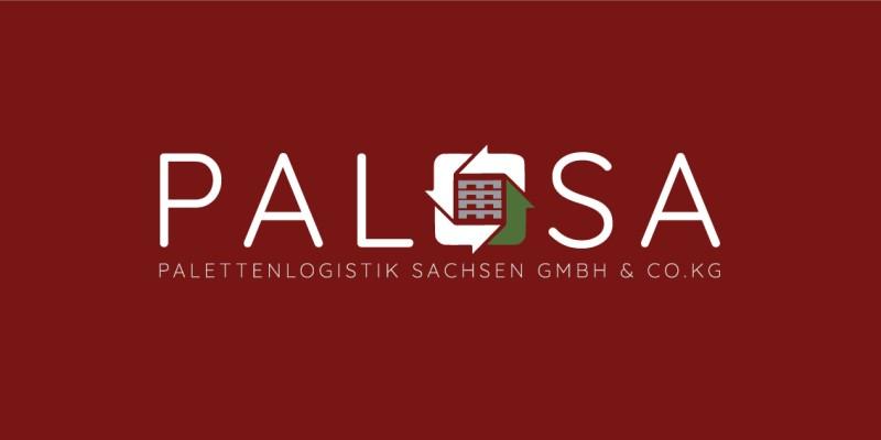 Das Logo von PALOSA mit weißer Schrift und rotem Hintergrund